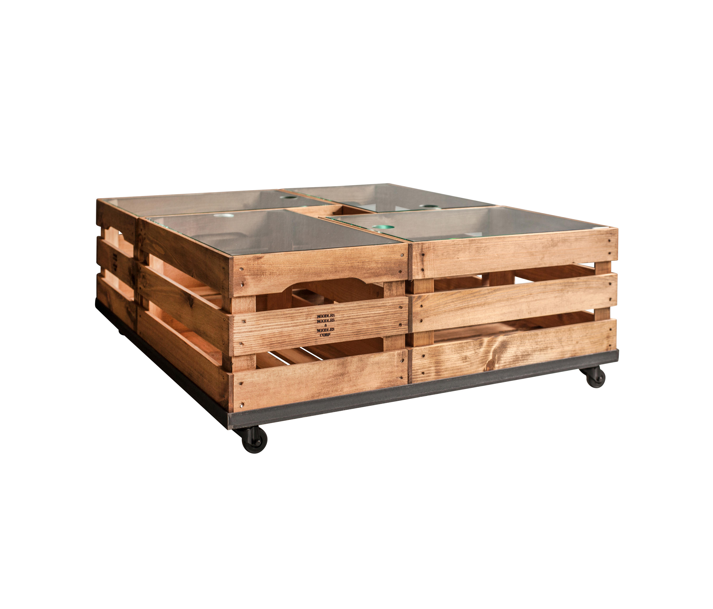 Wooden Crates Glass Table On Wheels Architonic