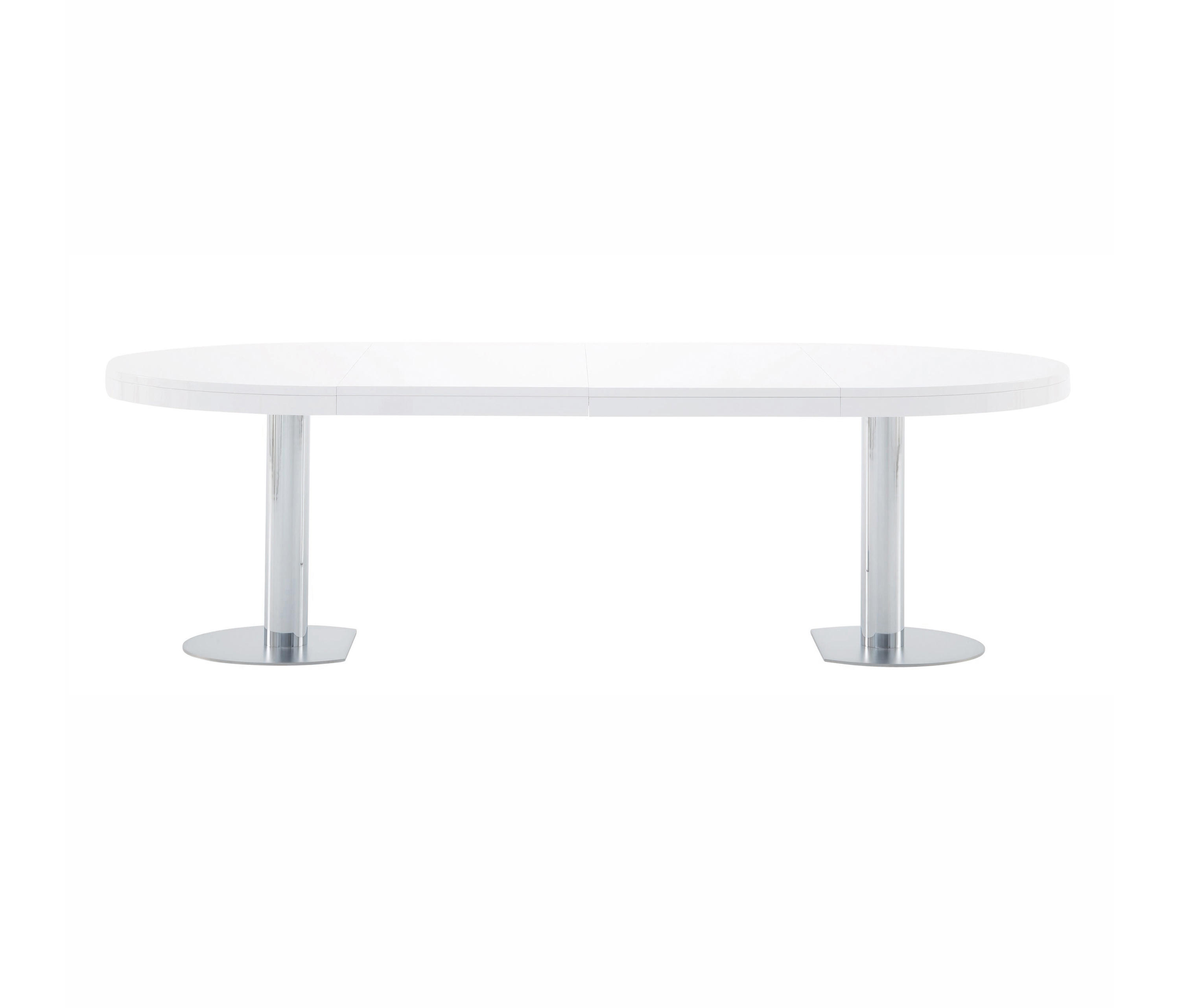 CRAFT | EXTENDING DINING TABLE GLOSS WHITE LACQUER CHROMED BASE ...