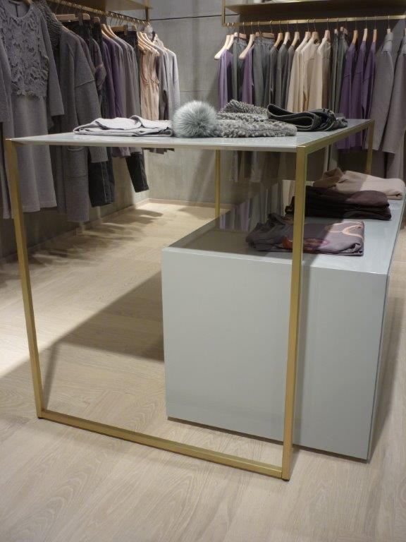 Retail Clothing Store Fixtures In Brass Contract Tables