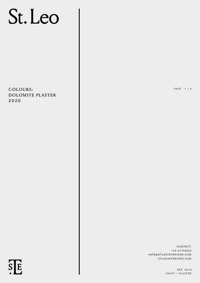 DOLOMITE PLASTER   COLOUR SHEET 2020