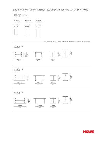 Table Series Line Drawings