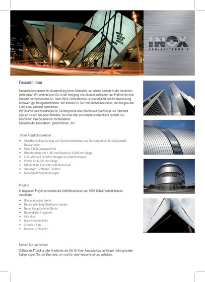 Inox Schleiftechnik | Fassadenbau
