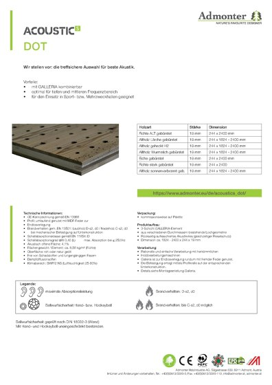 Datenblatt ACOUSTICs DOT
