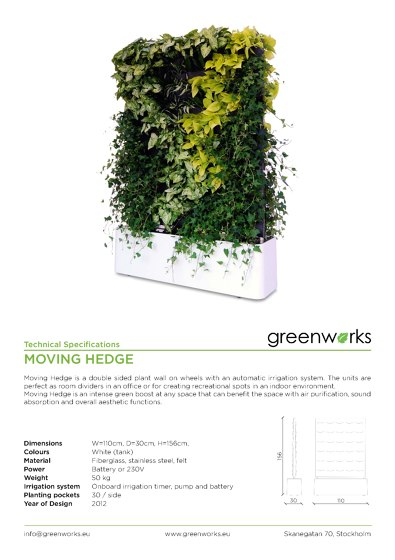 GREENWORKS PRODUCTS SHEETS