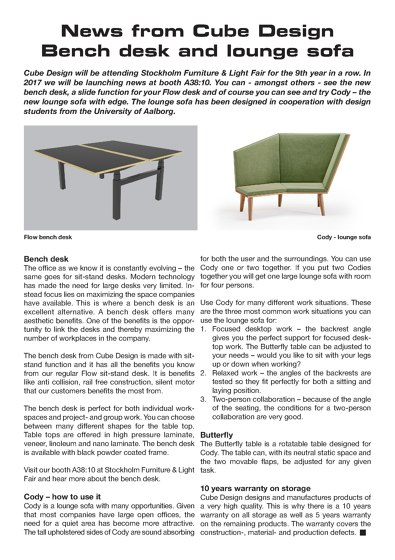 SFF 2017 | Bench Desk and Lounge Sofa