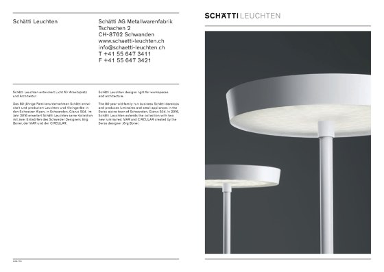 Schätti - Catalogue Luminaire Collection 2016