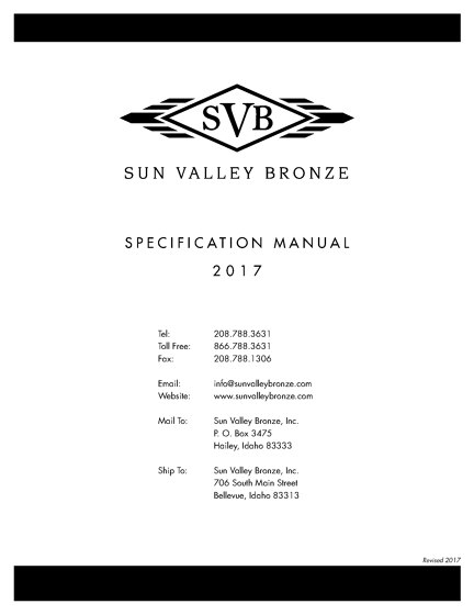 Sun Valley Bronze - Specification manual 2017