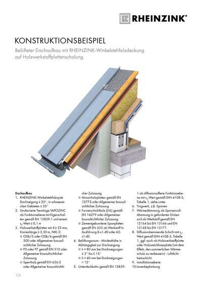 Konstruktionsbeispiel Belüfteter Dachaufbau mit RHEINZINK-Winkelstehfalzdeckung