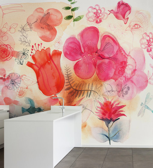 Watercolor and red flowers di WallPepper