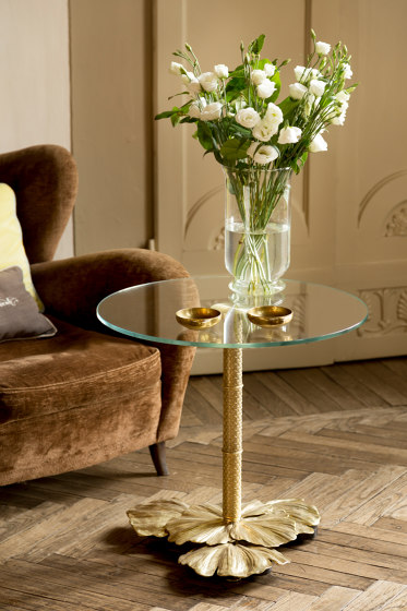 Gingko Biloba   Leaves base table small by Il Bronzetto - Brass Brothers & Co