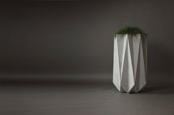Kronen 90 Concrete Contemporary Planter,White by Adam Christopher Design
