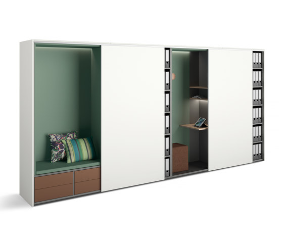 basic S cupboard booths | beach chair with pull-out drawers and cloakroom by werner works