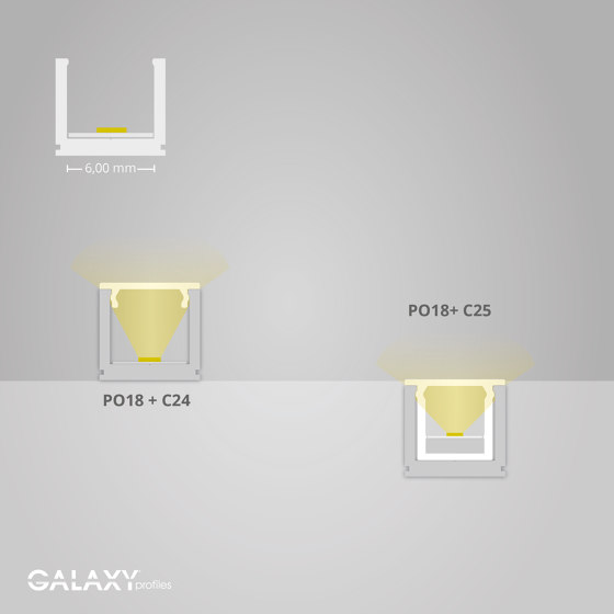 PO18 series | Cover C24 opal / satined 200 cm by Galaxy Profiles