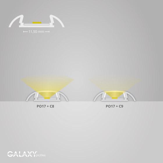 PO17 Serie | PO17 LED AUFBAU-Profil 200 cm, ultraflach/Flügel von Galaxy Profiles