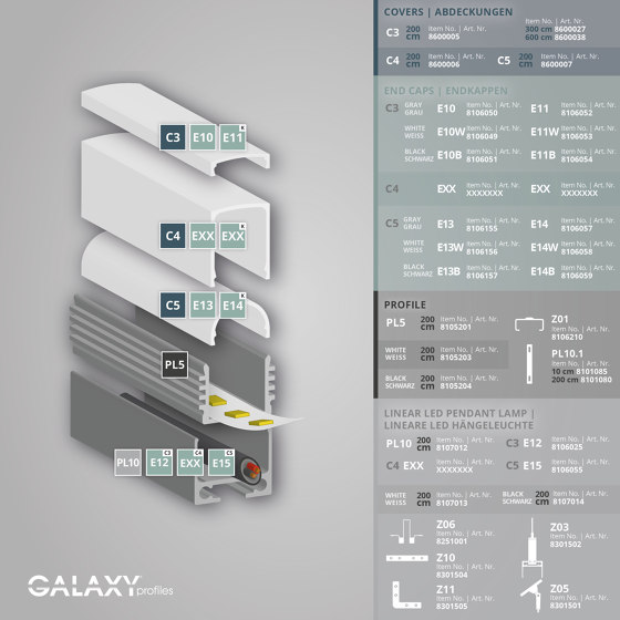 PL5 series | PL10 LED CONSTRUCTION profile / universal cable channel by Galaxy Profiles
