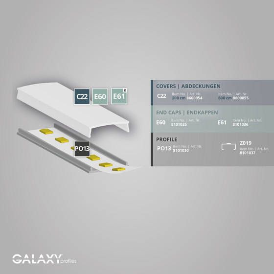 PO13 series | Cover C22 opal / satined 200 cm by Galaxy Profiles