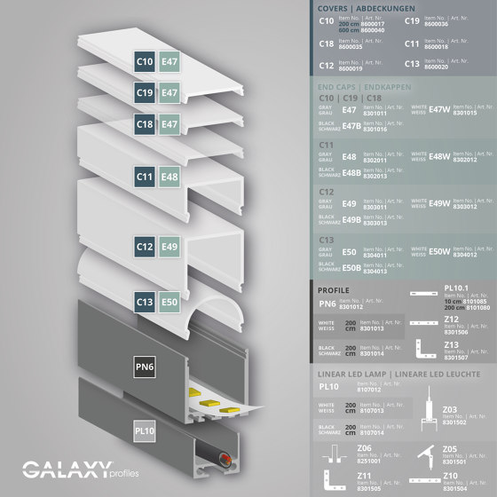 PN6 series | Cover C12 opal / satined 200 cm by Galaxy Profiles