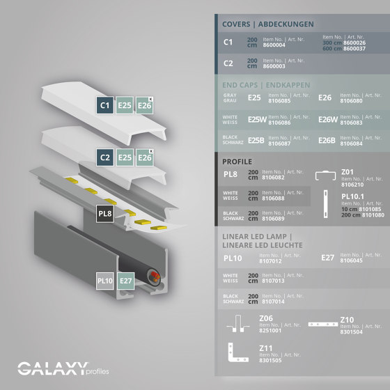 PL8 series | PL10.1 LED CONSTRUCTION / ASSEMBLY profile 200 cm, flat by Galaxy Profiles