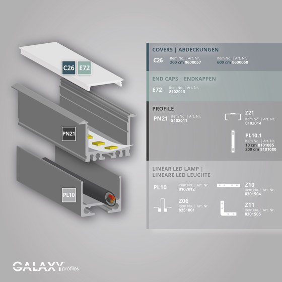 PN21 series | PL10 LED CONSTRUCTION profile / universal cable channel by Galaxy Profiles