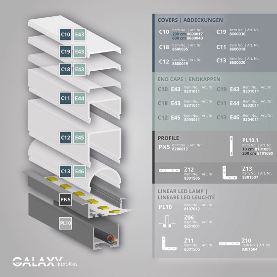 PN5 series | Cover C11 opal / satined 200 cm by Galaxy Profiles