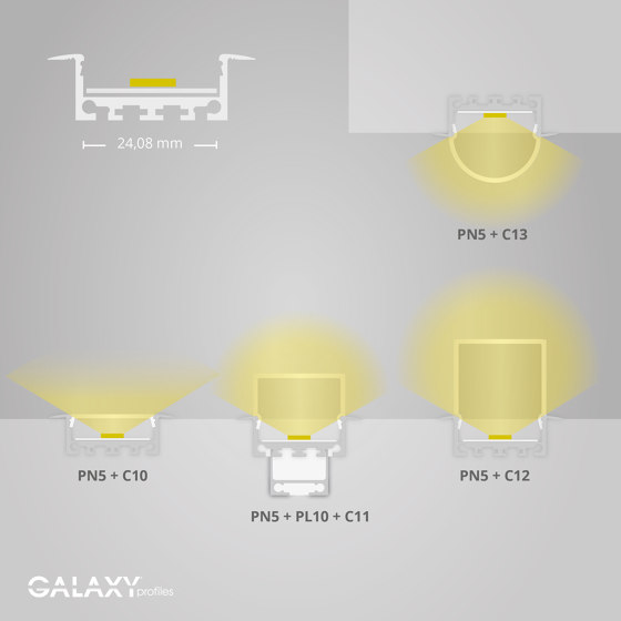 PN5 series | PL10 LED CONSTRUCTION profile / universal cable channel by Galaxy Profiles
