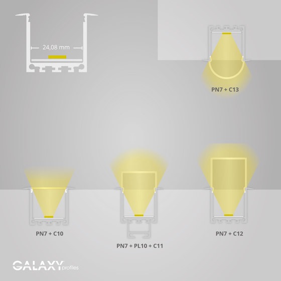 PN7 series | End cap E48 aluminium by Galaxy Profiles