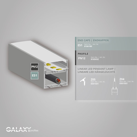 PN12 series | PN12 LED LIGHT profile 150cm by Galaxy Profiles
