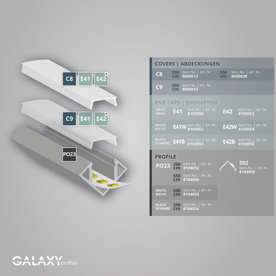 PO23 series | Cover C8 opal / satined 200 cm by Galaxy Profiles