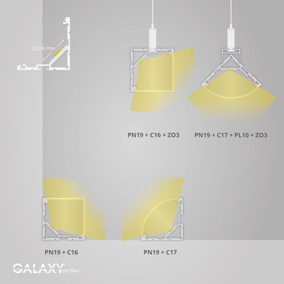 PN19 series | PN19 LED CORNER profile 200 cm by Galaxy Profiles