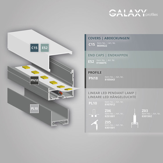 PN18 series | PL10 LED CONSTRUCTION profile / universal cable channel by Galaxy Profiles