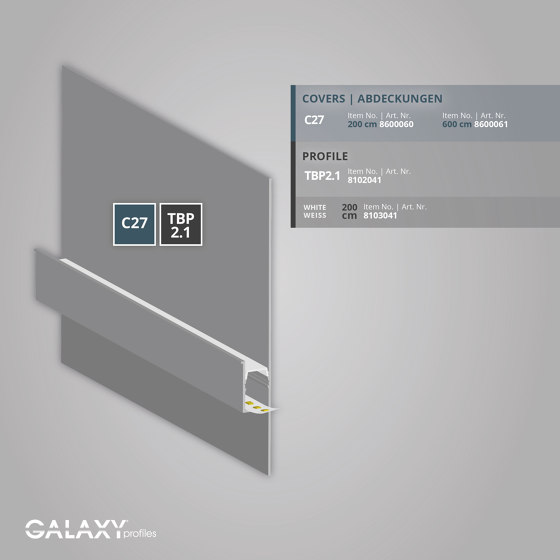 TBP2.1 series | Cover C27 opal / satined 200 cm by Galaxy Profiles