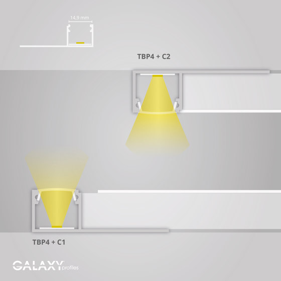 TBP4 series | TBP4 LED drywall profile 200 cm by Galaxy Profiles