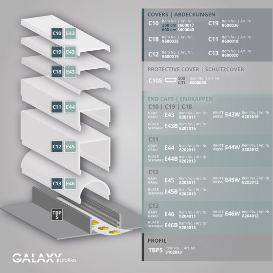 TBP5 series | End cap E43 aluminium by Galaxy Profiles