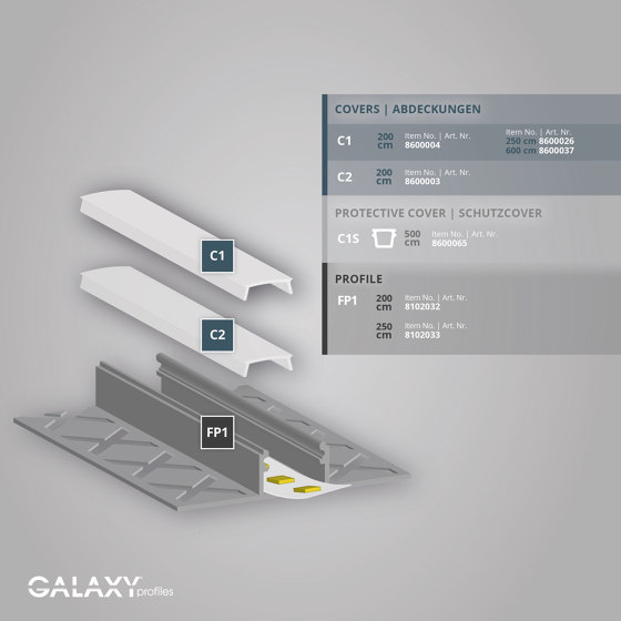 FP1 Serie   FP1 LED Fliesenprofil Mitte 200 cm von Galaxy Profiles