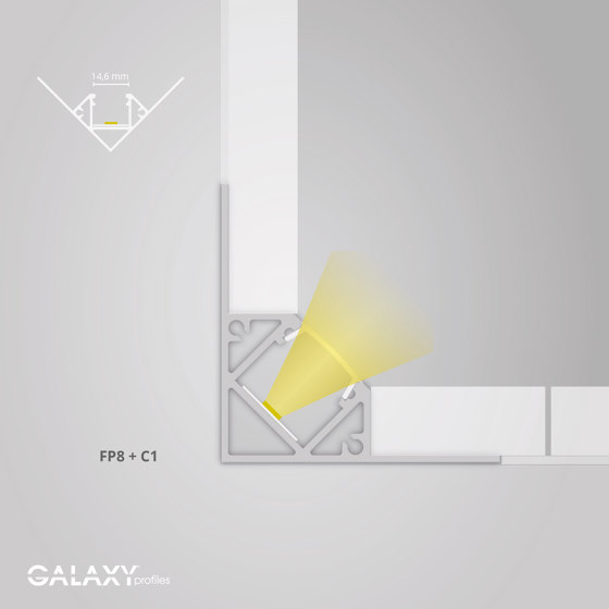 FP8 Serie | FP8 LED Fliesenprofil Inneneck 200 cm von Galaxy Profiles