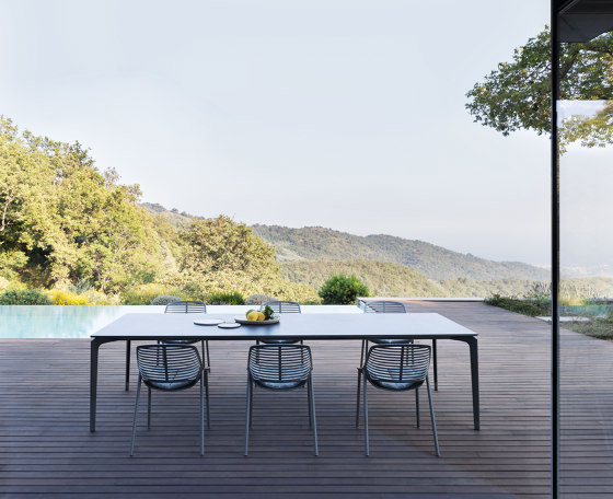 AllSize rectangular table with speckled aluminium top by Fast