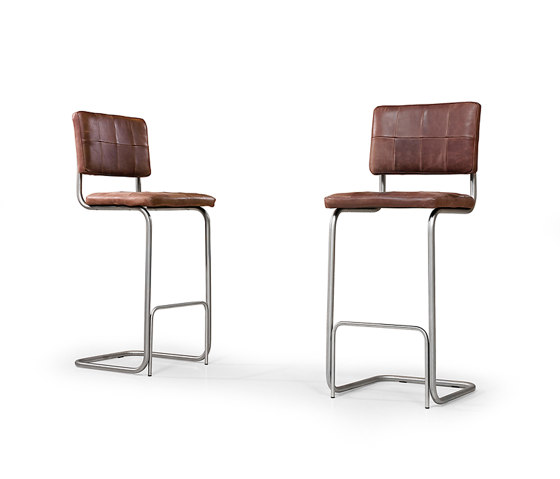 Nelson brushed stainless steel barstool without arms von Jess