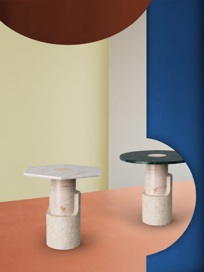 Braque Travertine side table by Dooq