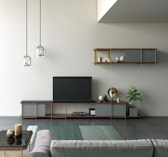Julia Bookcase - TV cabinet set funiture with upholstery sliding panels by Momocca