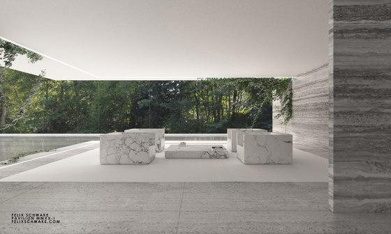 ARMCHAIR – FS 403 Arabescato Marble, White by RECHTECK FELIX SCHWAKE