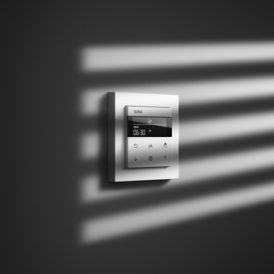 Blind Control | System 3000 Display blind timer | Stainless steel varnished (including E2) by Gira
