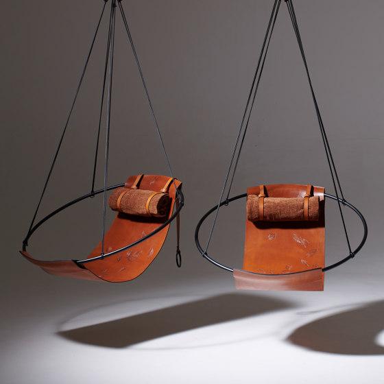 Sling Hanging Chair - Debossed Leather Geometrics by Studio Stirling