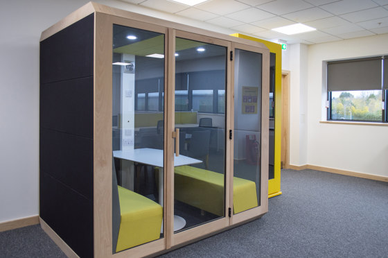 Meeting Box with Front Glass Enclosure and Solid Back Panel by The Meeting Pod