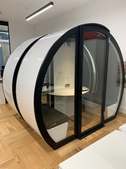 4 Person Meeting Pod with Front Glass Enclosure and Glass Back Panel by The Meeting Pod