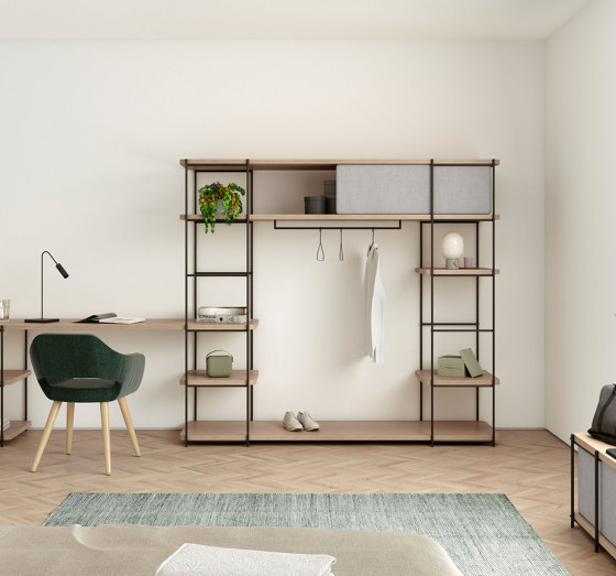 Modular dressing room by Julia Collection with black coat rack, fixed and sliding pannels. by Momocca