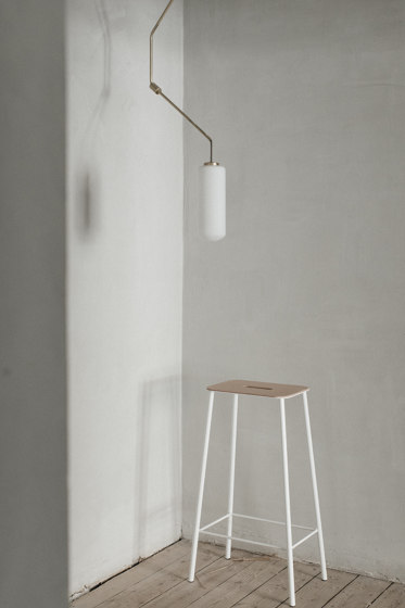 Adam stool H50 Black Leather by Frama