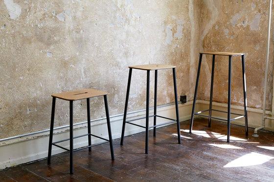Adam stool H76 Black Leather by Frama