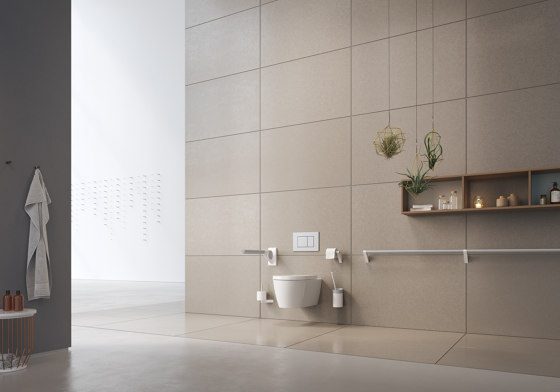 FSB ErgoSystem® A100 Drop-down support rail with toilet-roll holder by FSB