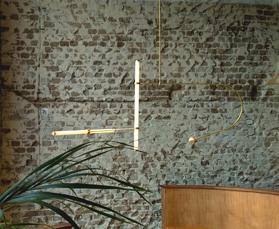 Tube pendant No. 2 - LED light, ceiling, natural brass finish by Naama Hofman Light Objects