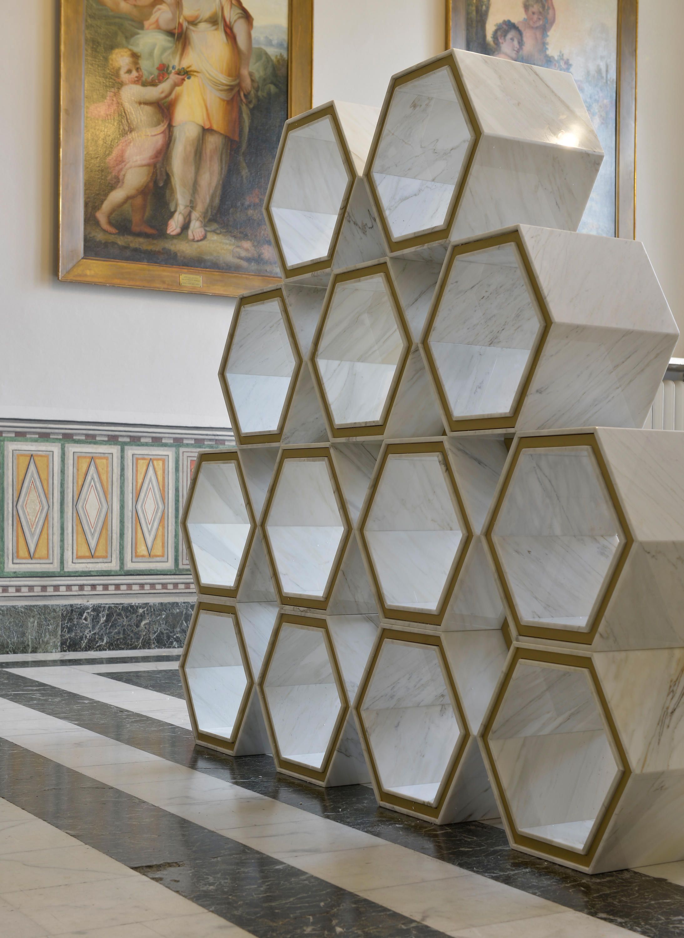 Freestanding Hexagon Bookcase Architonic